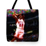 Magical Michael Jordan White Jersey Tote Bag by Paul Van Scott
