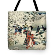 Maids in a snow covered garden Tote Bag by Hiroshige