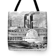 Mail Steamboat, 1854. /nthe Louisville Mail Company Steamboat Jacob Strader. Wood Engraving, 1854 Tote Bag by Granger
