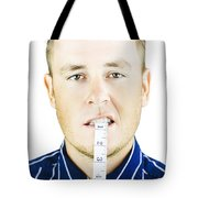Man Biting Tape Measure Tote Bag by Jorgo Photography - Wall Art Gallery