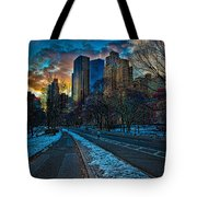 Manhattan Sunset Tote Bag by Chris Lord