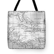 Map Of The West Indies Florida And South America Tote Bag by English School