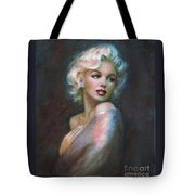 Marilyn Romantic Ww Dark Blue Tote Bag by Theo Danella