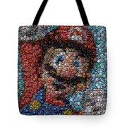 Mario Bottle Cap Mosaic Tote Bag by Paul Van Scott