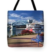 Market Street Bridge With The Delta Queen From Coolidge Park Tote Bag by Tom and Pat Cory