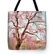 Meet Me Under The Pink Blooms Beside The Pond - Holmdel Park Tote Bag by Angie Tirado