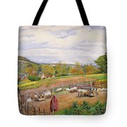 Mending The Sheep Pen Tote Bag by William Henry Millais