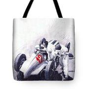 Mercedes Benz W125 Rudolf Caracciola The German Grand Prix Nurburgring 1937  Tote Bag by Yuriy  Shevchuk
