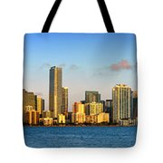 Miami Skyline in Morning Daytime Panorama Tote Bag by Jon Holiday
