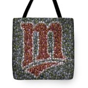 Minnesota Twins Baseball Mosaic Tote Bag by Paul Van Scott