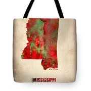 Mississippi Watercolor Map Tote Bag by Naxart Studio