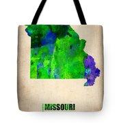 Missouri Watercolor Map Tote Bag by Naxart Studio