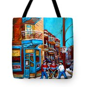 MONTREAL CITY SCENE HOCKEY AT WILENSKYS Tote Bag by CAROLE SPANDAU