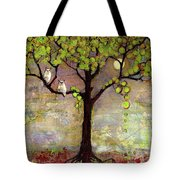 Moon River Tree Owls Art Tote Bag by Blenda Studio