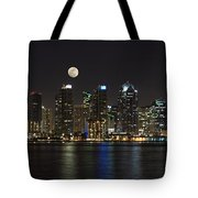 Moonrise Over San Diego Tote Bag by Sandra Bronstein
