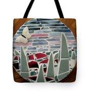 Mosaic Sailboats Tote Bag by Jamie Frier