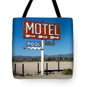 Motel Sign On I-40 And Old Route 66 Tote Bag by Scott Sawyer