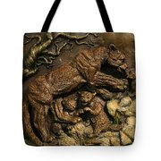 Mountain Lion Mother With Cubs Tote Bag by Dawn Senior-Trask
