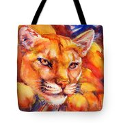 Mountain Lion Red-yellow-blue Tote Bag by Summer Celeste