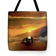 Mq-1 Predator Titled Anytime Anyplace Tote Bag by Todd Krasovetz