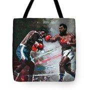 Muhammad Ali And Joe Frazier Tote Bag by Ylli Haruni