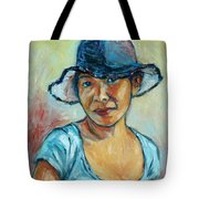 My First Self-portrait Tote Bag by Xueling Zou