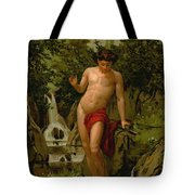 Narcissus In Love With His Own Reflection Tote Bag by Dionisio Baixeras-Verdaguer