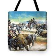 Native American Indians Killing American Bison Tote Bag by Ron Embleton