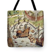 Naval Battle Between The Portuguese And French In The Seas Off The Potiguaran Territories Tote Bag by Theodore de Bry