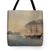 Naval Battle Of The Strait Of Shimonoseki Tote Bag by Jean Baptiste Henri Durand Brager