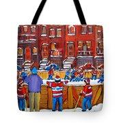 NEIGHBORHOOD  HOCKEY RINK Tote Bag by CAROLE SPANDAU