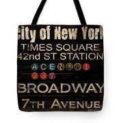 New York Subway Tote Bag by Grace Pullen