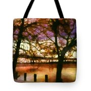 Newburgh Beacon Bridge Purple skies Tote Bag by Janine Riley