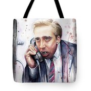 Nicolas Cage A Vampire's Kiss Watercolor Art Tote Bag by Olga Shvartsur
