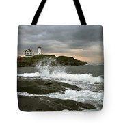 Nubble Light In A Storm Tote Bag by Rick Frost