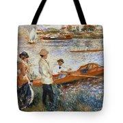 Oarsmen At Chatou Tote Bag by Pierre Auguste Renoir