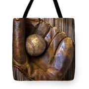 Old baseball mitt and ball Tote Bag by Garry Gay