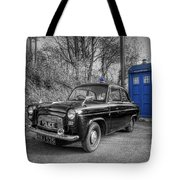 Old British Police Car And Tardis Tote Bag by Yhun Suarez