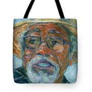 Old Man Wearing A Hat Tote Bag by Xueling Zou