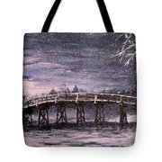 Old North Bridge in Winter Tote Bag by Jack Skinner