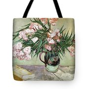 Oleanders And Books Tote Bag by Vincent van Gogh