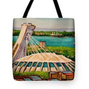 Olympic Stadium  Montreal Tote Bag by Carole Spandau