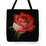 Orange And White Rose Tote Bag by Sandy Keeton