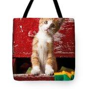Orange tabby kitten in red drawer  Tote Bag by Garry Gay