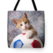 Orange Tabby Kitten With Soccer Ball Tote Bag by Garry Gay