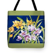 Orchids In Blue Tote Bag by Lucy Arnold