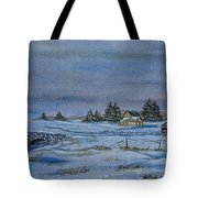 Over The Bridge And Through The Snow Tote Bag by Charlotte Blanchard