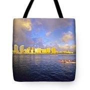 Paddling Beneath Rainbow Tote Bag by Carl Shaneff - Printscapes