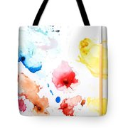 Paint Splatters And Paint Brush Tote Bag by Chris Knorr