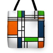 Parallel Lines Composition With Blue Green And Orange In Opposition Tote Bag by Oliver Johnston